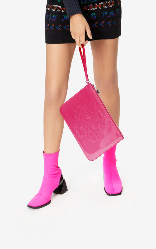 DEEP FUSCHIA 'Preppy' A4 clutch with embossed Tiger for women KENZO
