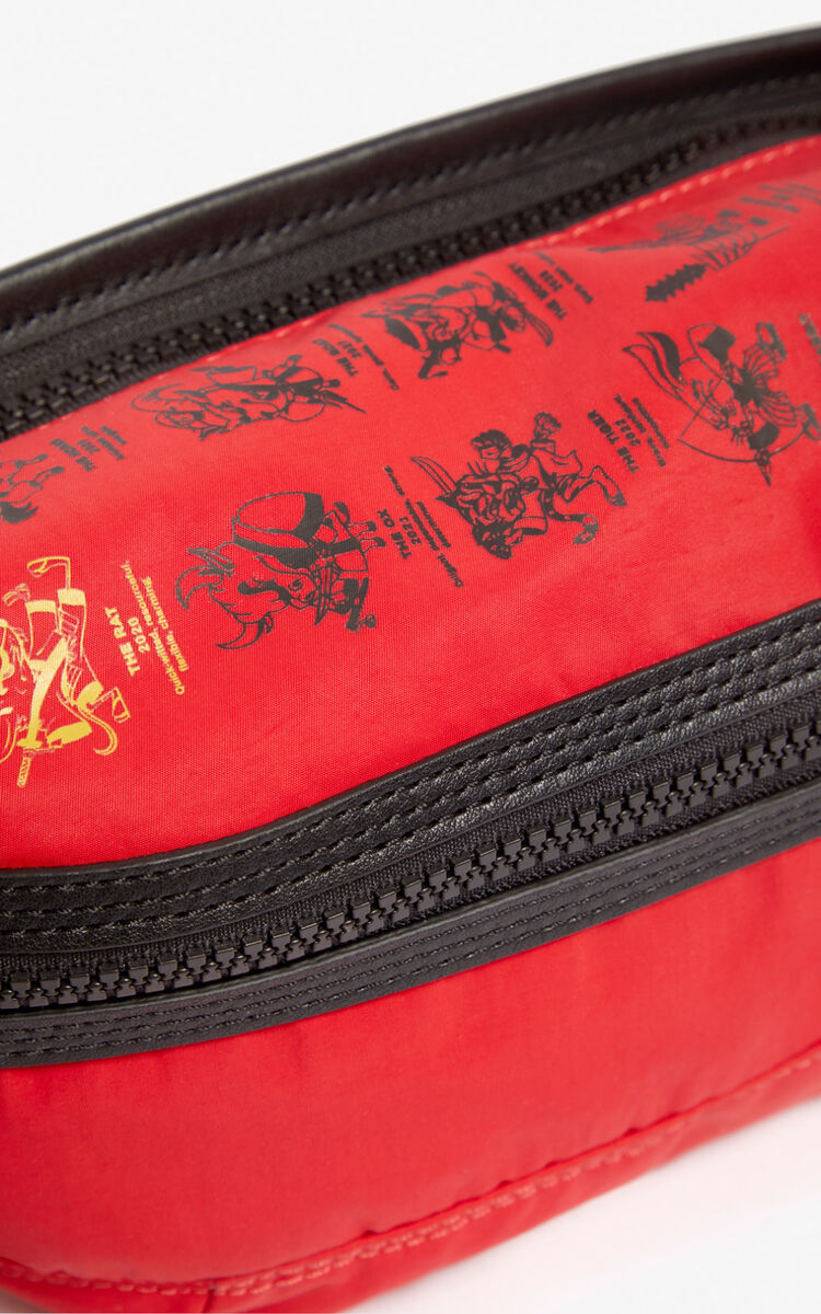 MEDIUM RED 'Kung Fu Rat' belt bag for men KENZO