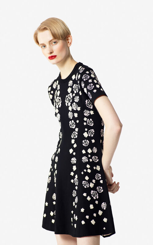 BLACK 'Cheongsam Flower' jacquard print dress for women KENZO