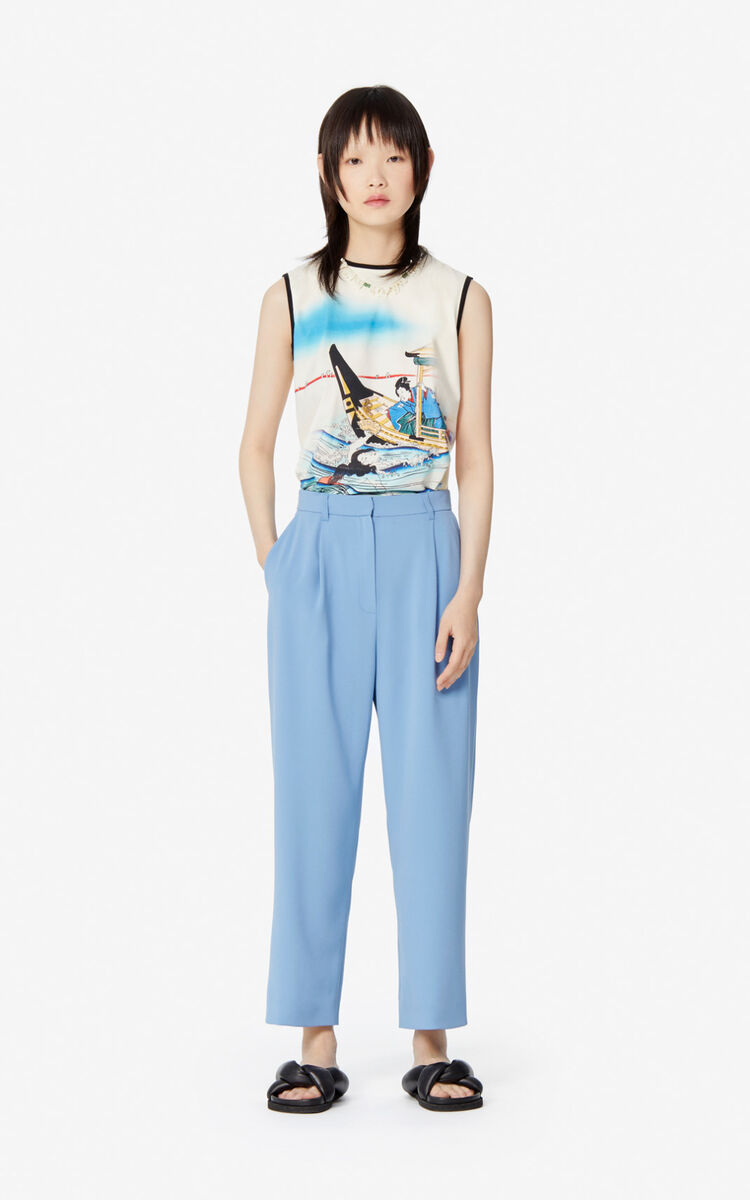 BLUE Pleated trousers for women KENZO