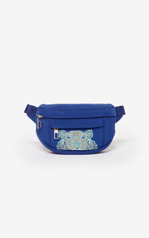 NAVY BLUE Mini 'Kampus' Tiger neoprene bumbag  for unisex KENZO