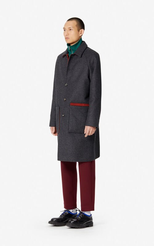 DARK GREY Two-tone coat in wool for men KENZO