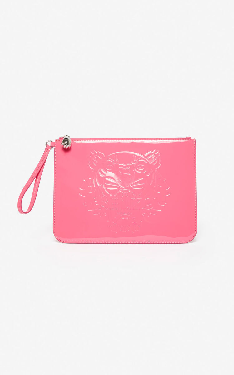 DEEP FUSCHIA 'Preppy' A4 clutch with embossed Tiger  for unisex KENZO
