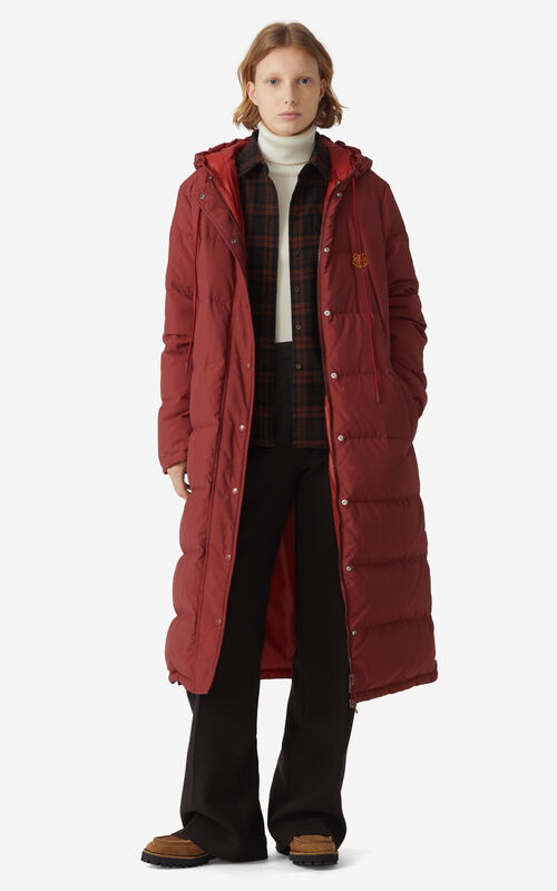 MOROCCAN BROWN Reversible long quilted coat for women KENZO