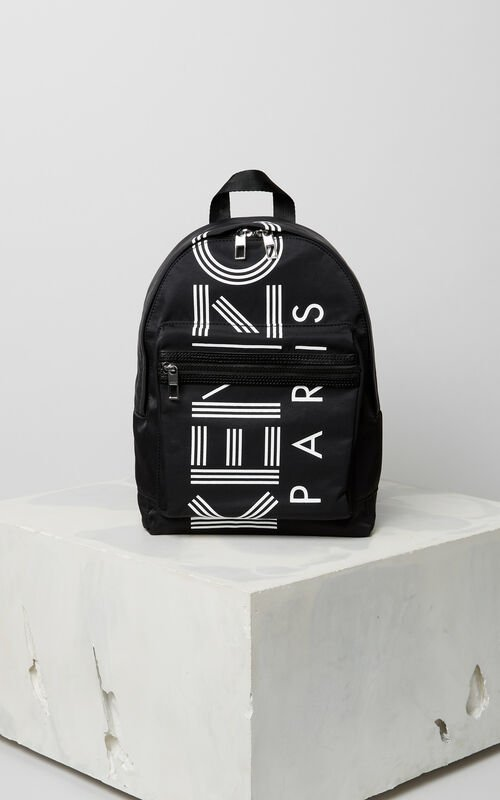 BLACK Medium KENZO Logo backpack for women