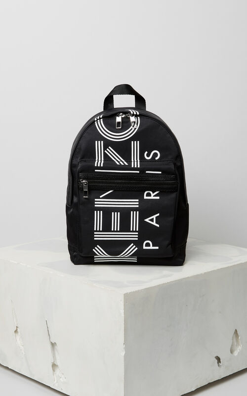 BLACK KENZO sport medium backpack for men