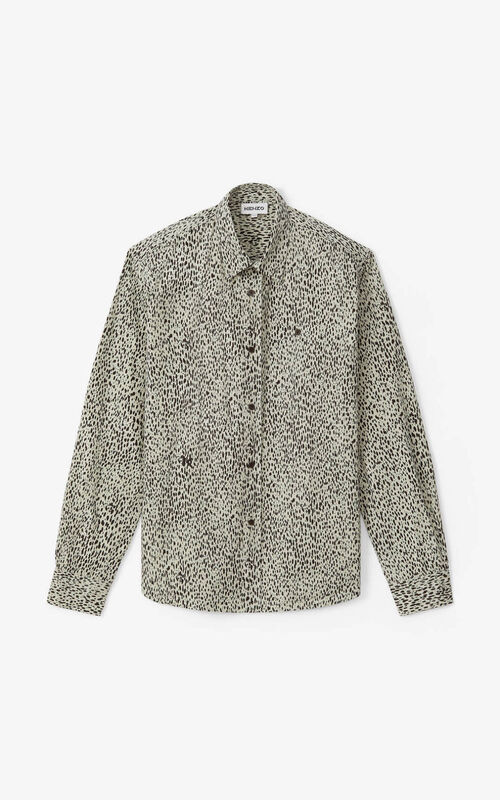 GREY GREEN 'Leopard' casual shirt for unisex KENZO