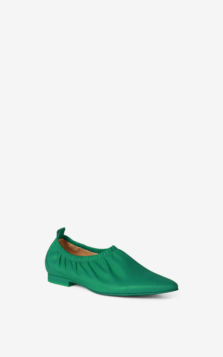 GREEN WRINKLE flat leather ballet pumps for women KENZO