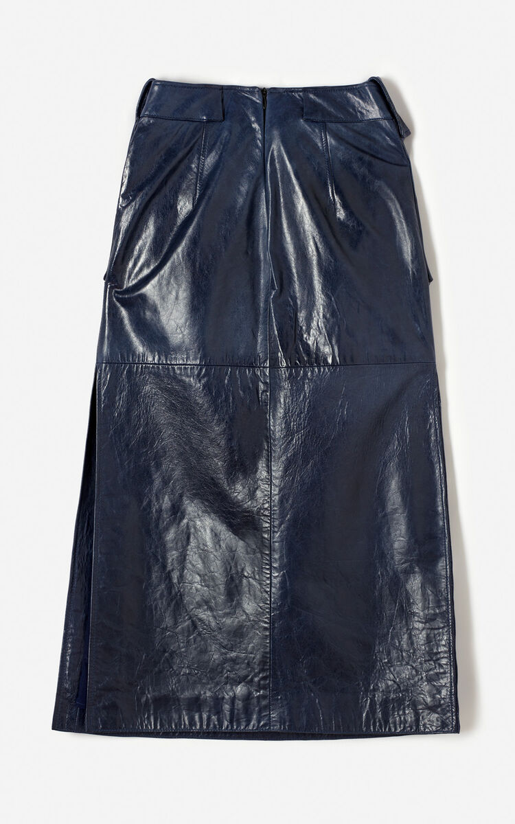 NAVY BLUE Leather skirt with slit for women KENZO