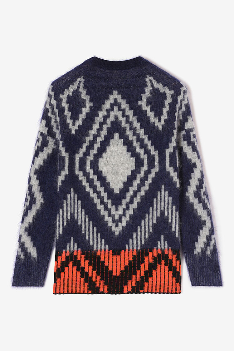 NAVY BLUE Wool jacquard and mohair sweater for women KENZO