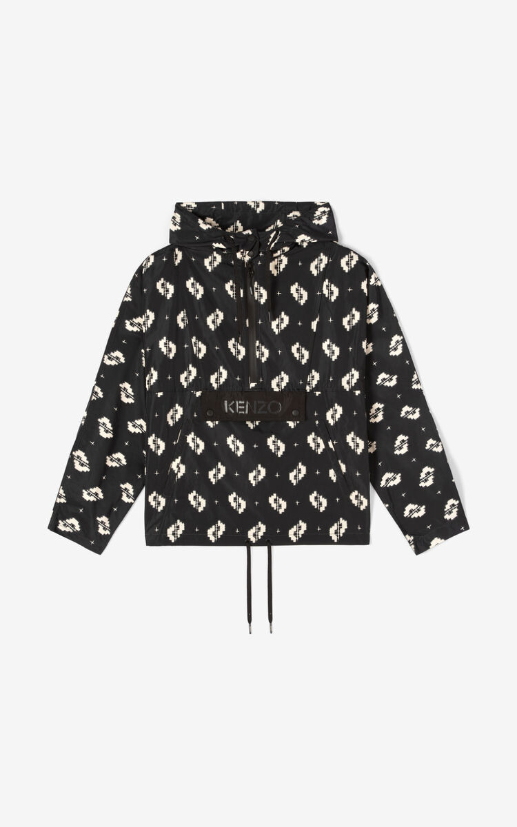 BLACK Hooded KENZO windbreaker for women