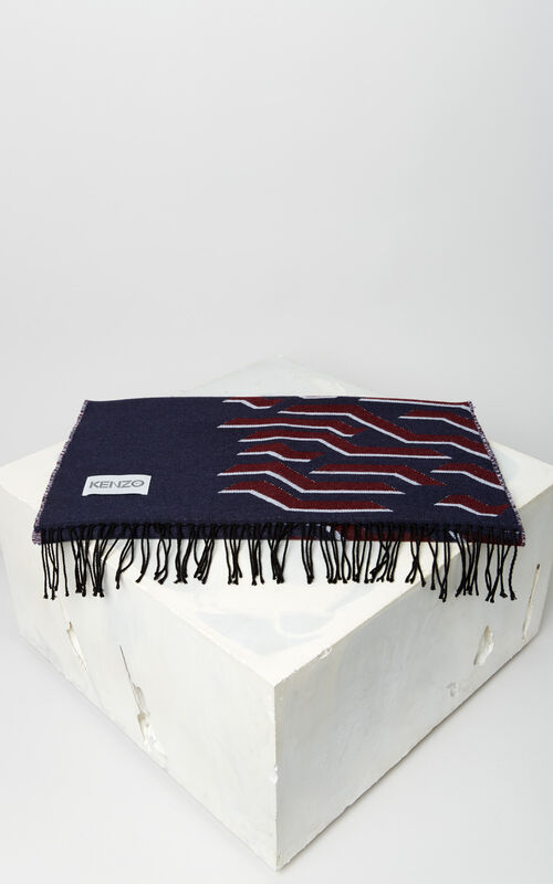 NAVY BLUE 'Geo Tiger' wool scarf for unisex KENZO