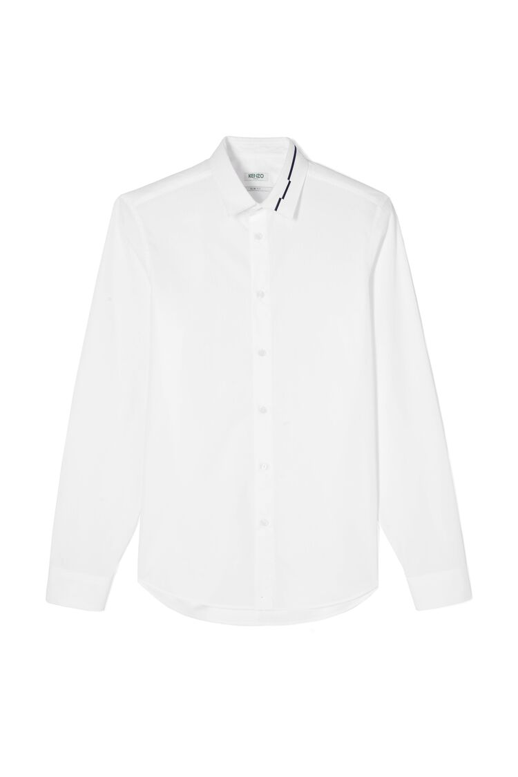 WHITE Shirt with embroidered collar for men KENZO