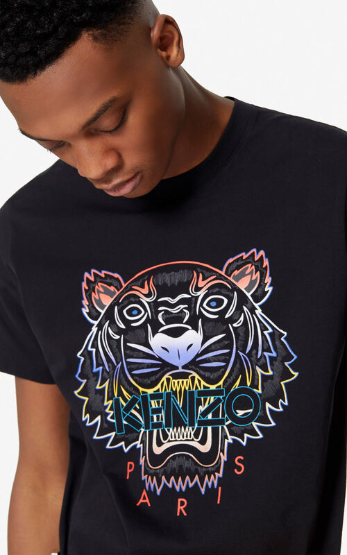 2401df14 BLACK Gradient Tiger T-shirt for men KENZO ...