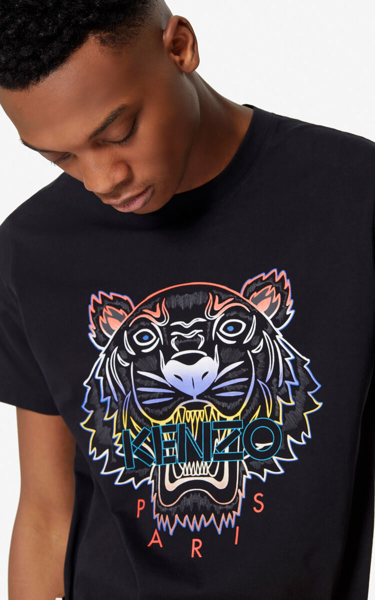 BLACK Gradient Tiger T-shirt for men KENZO
