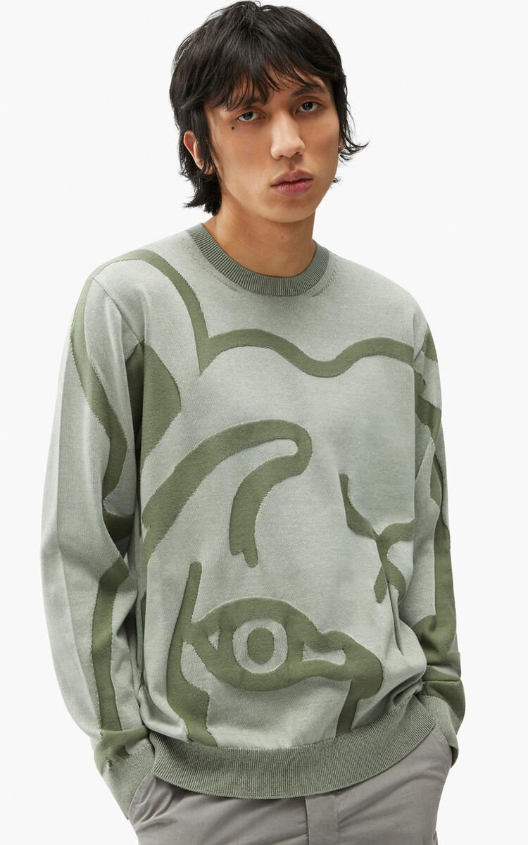 SAGE GREEN K-Tiger jumper for men KENZO