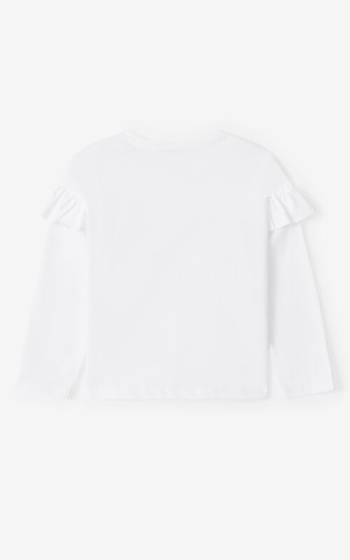 WHITE 'Vegas' ruffled long-sleeve T-shirt for women KENZO