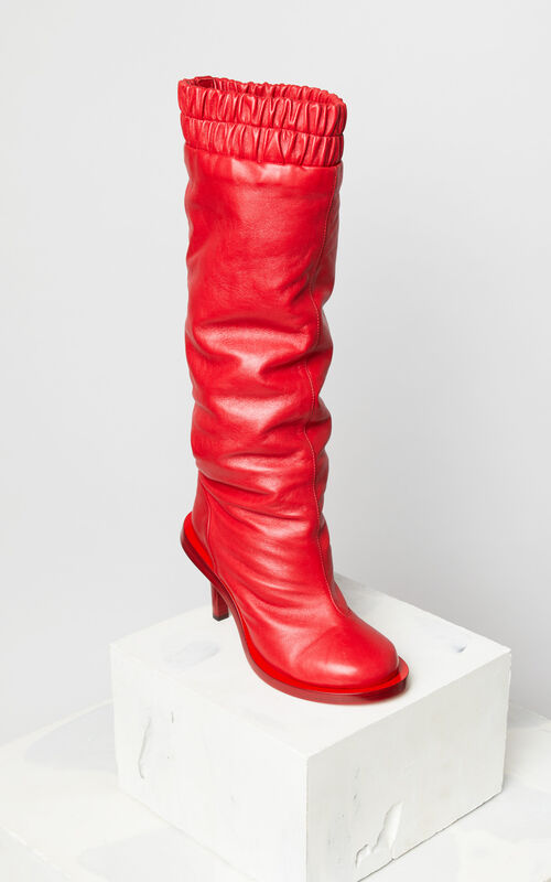 MEDIUM RED Leather heeled boots for women KENZO