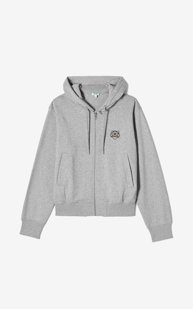 PEARL GREY Zipped Tiger hoodie jacket for men KENZO