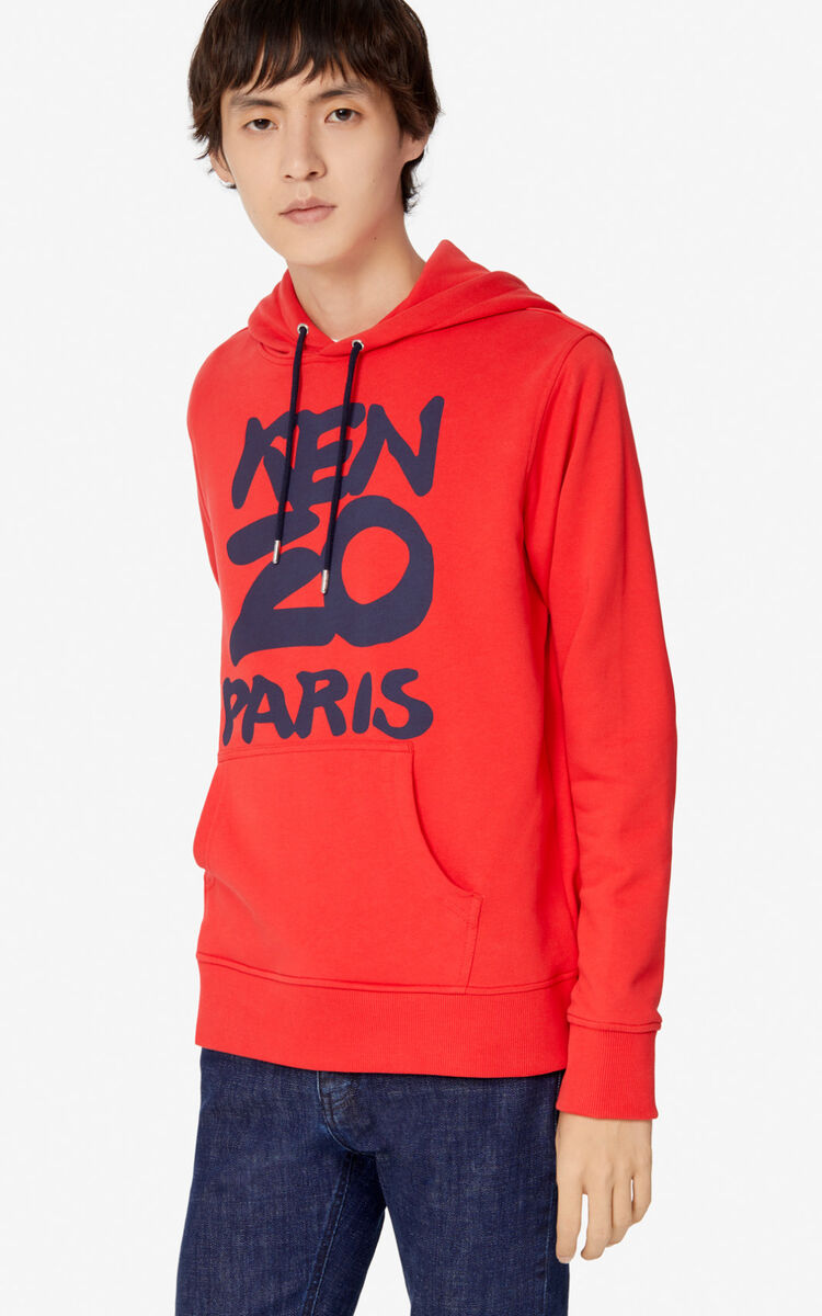 MEDIUM RED KENZO Paris hooded sweatshirt for men