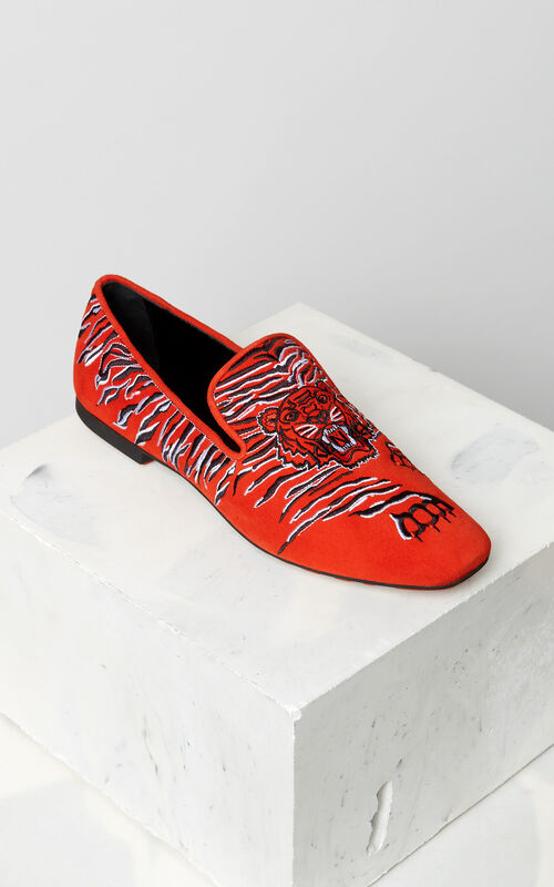 MEDIUM RED Custer 'Crawling Tiger' moccasins for women KENZO