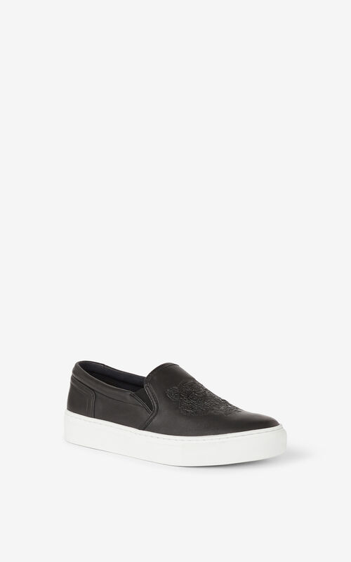 BLACK K-Skate Tiger leather slip-on trainers for unisex KENZO
