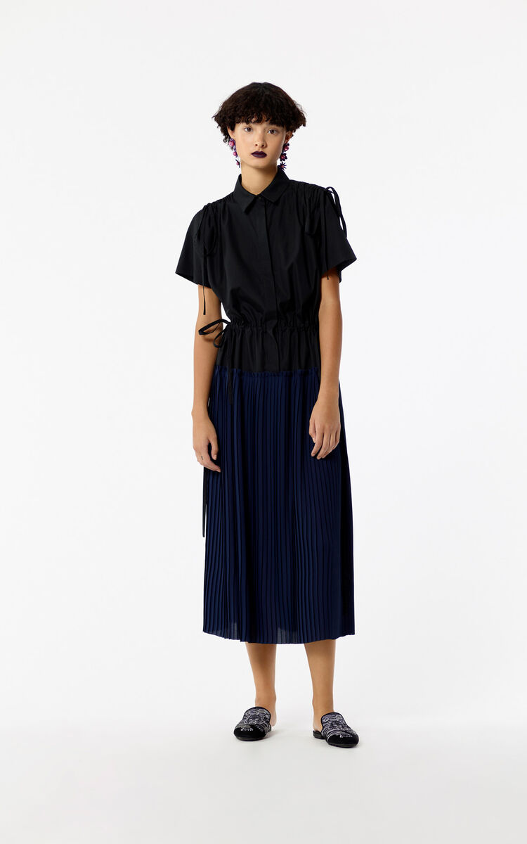 BLACK Pleated shirt dress for women KENZO