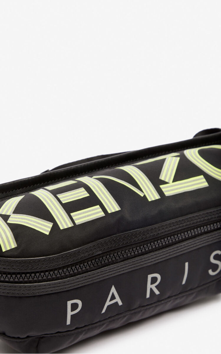 BLACK Neon KENZO logo belt bag for women
