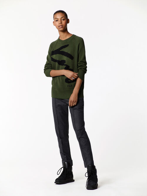 DARK KHAKI KENZO Signature sweater  for women