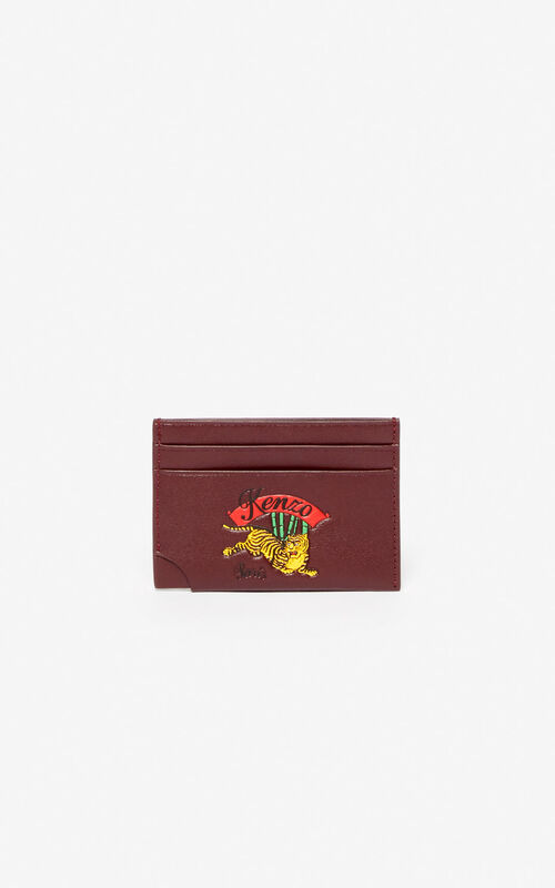 'Jumping Tiger' leather card holder for unisex KENZO