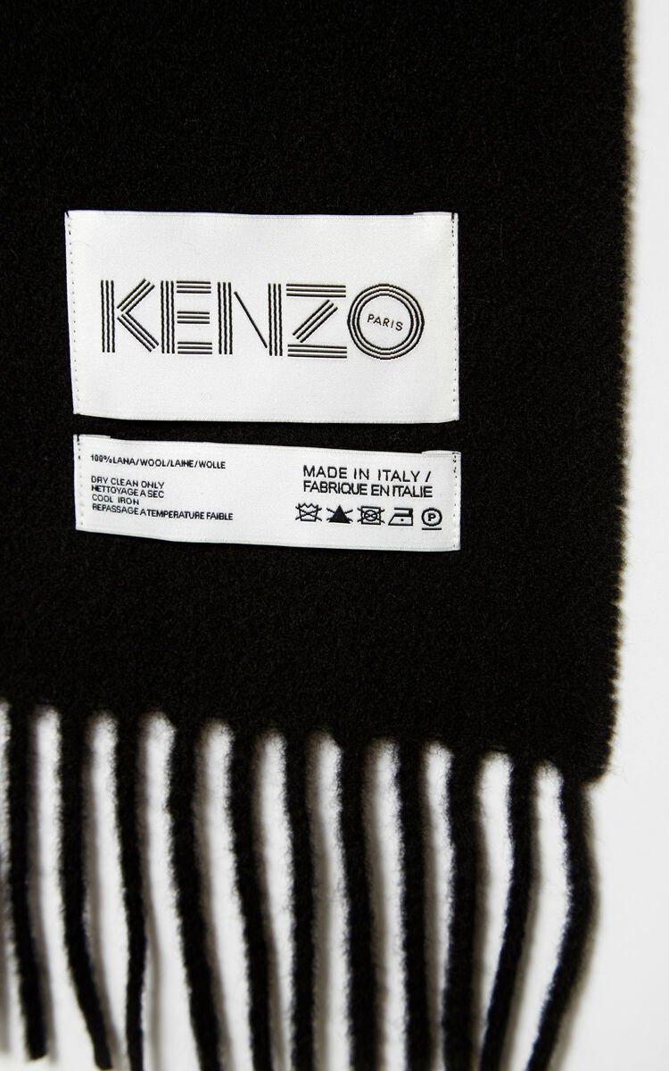 BLACK KENZO Label wool Scarf for unisex