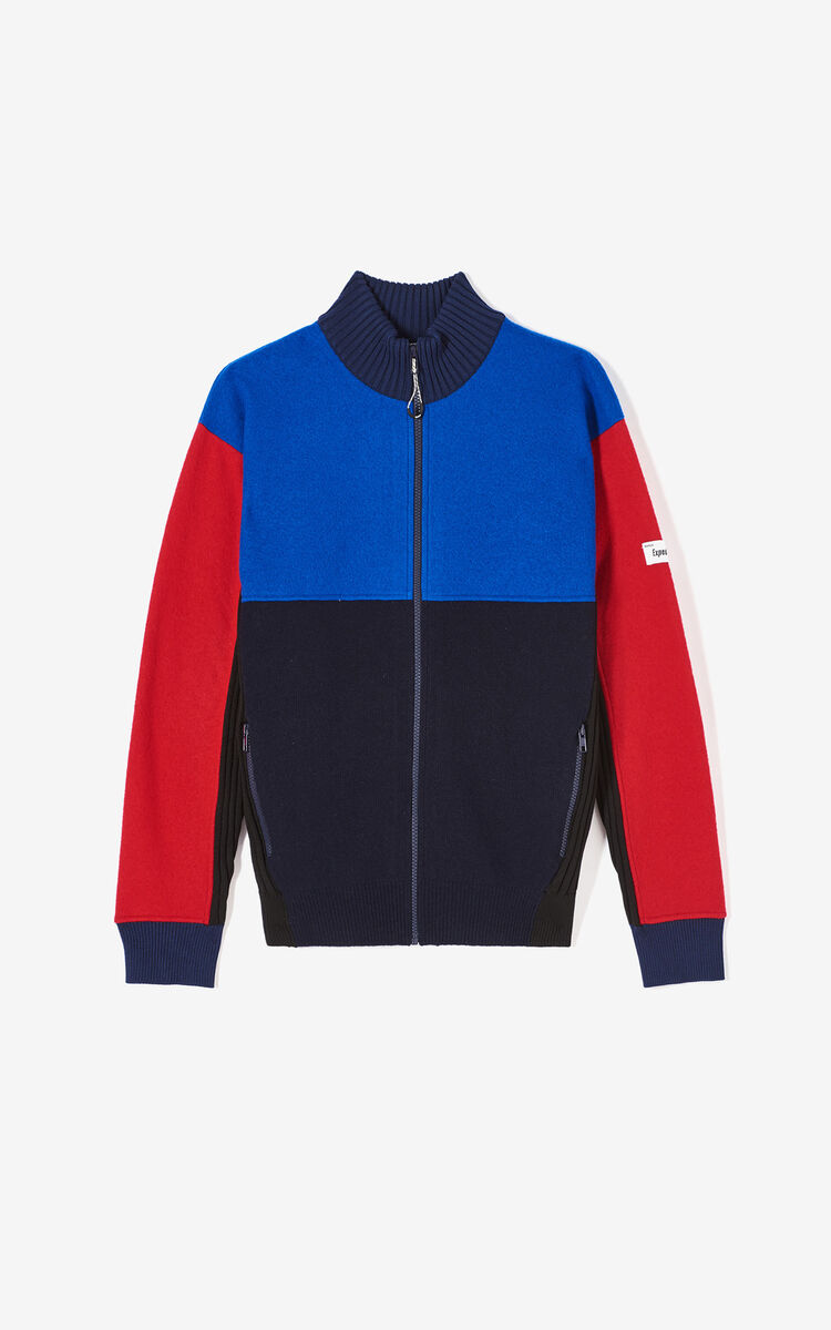 FRENCH BLUE Colorblock wool jacket for men KENZO