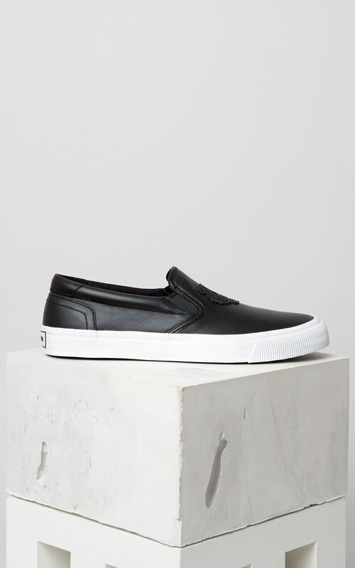 BLACK Leather Tiger Slip On for unisex KENZO
