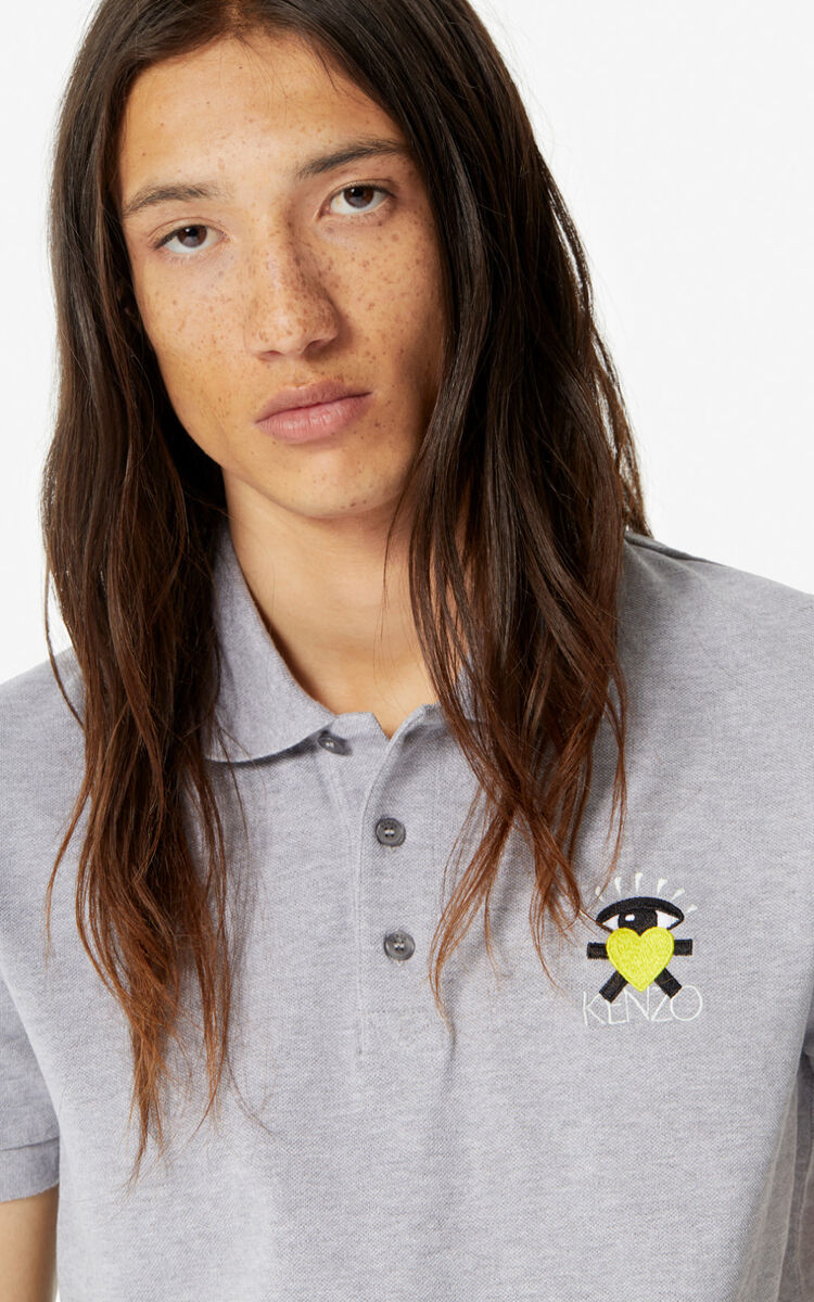 PEARL GREY Fitted 'Cupid' polo shirt for men KENZO