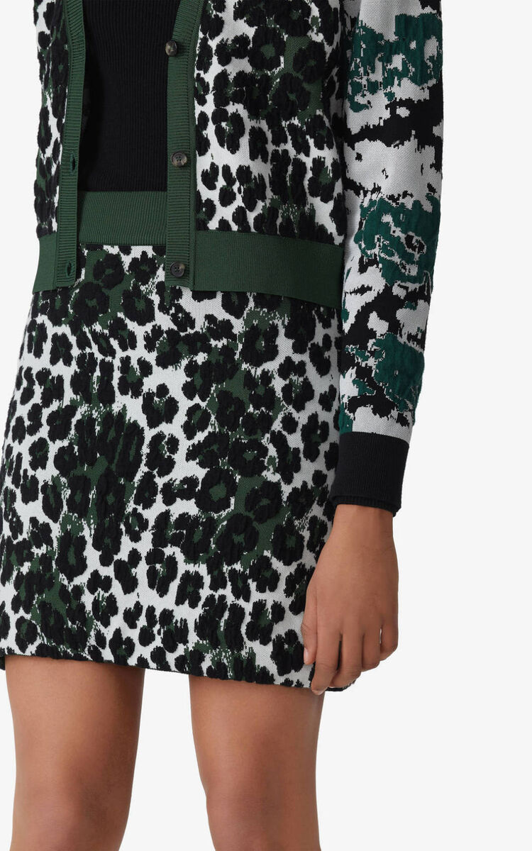 BOTTLE GREEN 'Leopard' jacquard skirt  for men KENZO