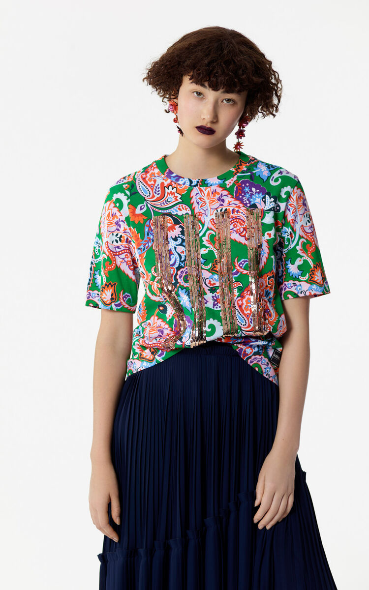 GRASS GREEN Cashmere and sequin pattern t-shirt for women KENZO