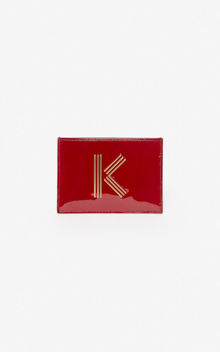 VERMILLION K-Bag patent card holder for unisex KENZO
