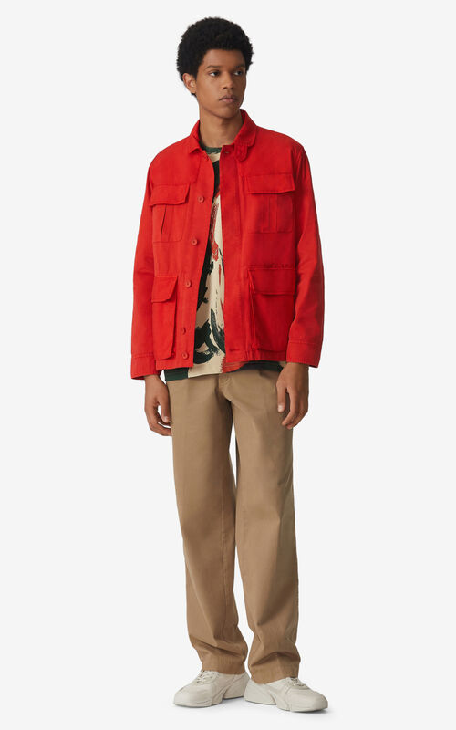 MEDIUM ORANGE Dual-material work jacket for men KENZO