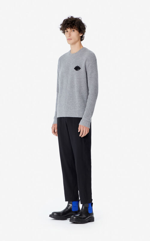 DOVE GREY 'Holiday Capsule' cashmere Eye jumper for women KENZO