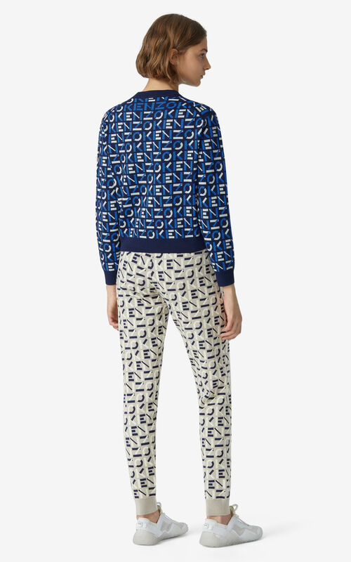 MIDNIGHT BLUE KENZO Sport monogram jacquard jumper for women