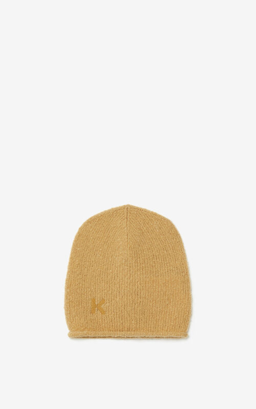 BEIGE K Logo wool and cashmere beanie for men KENZO