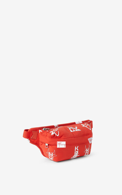 MEDIUM RED 'Sign & Symbol' mini belt bag for unisex KENZO
