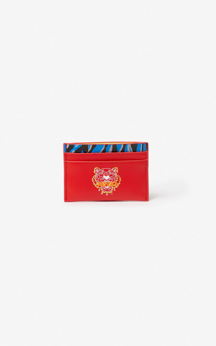 MEDIUM RED 'Tiny Tiger' leather card holder for unisex KENZO