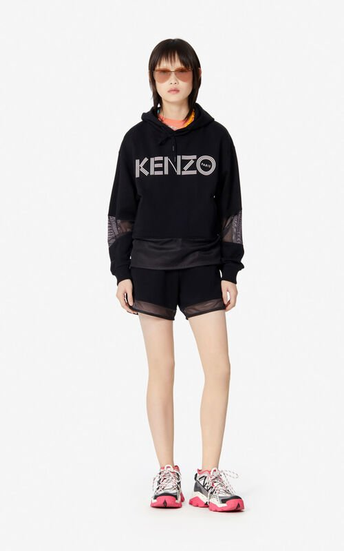 BLACK KENZO Logo hooded sweatshirt for women