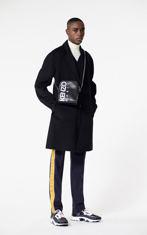 BLACK Straight-cut wool and cashmere coat for men KENZO