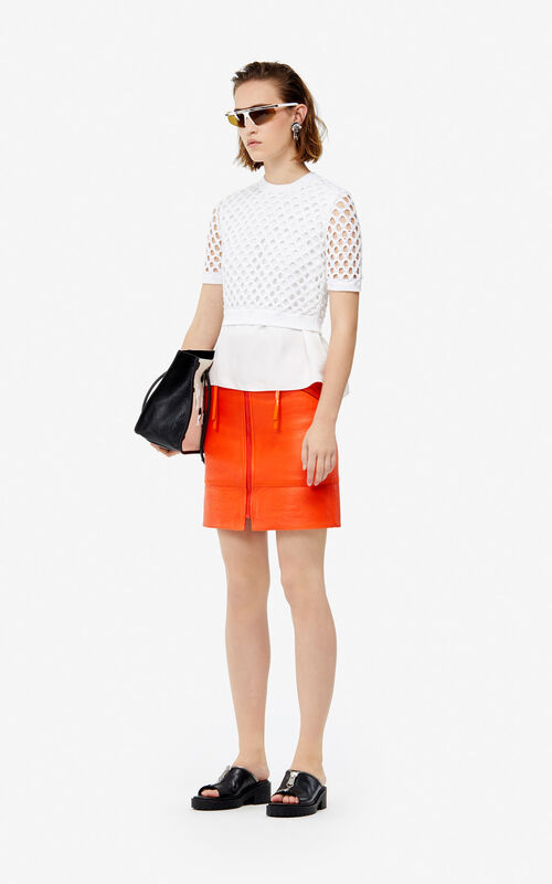 WHITE Dual-fabric top for women KENZO