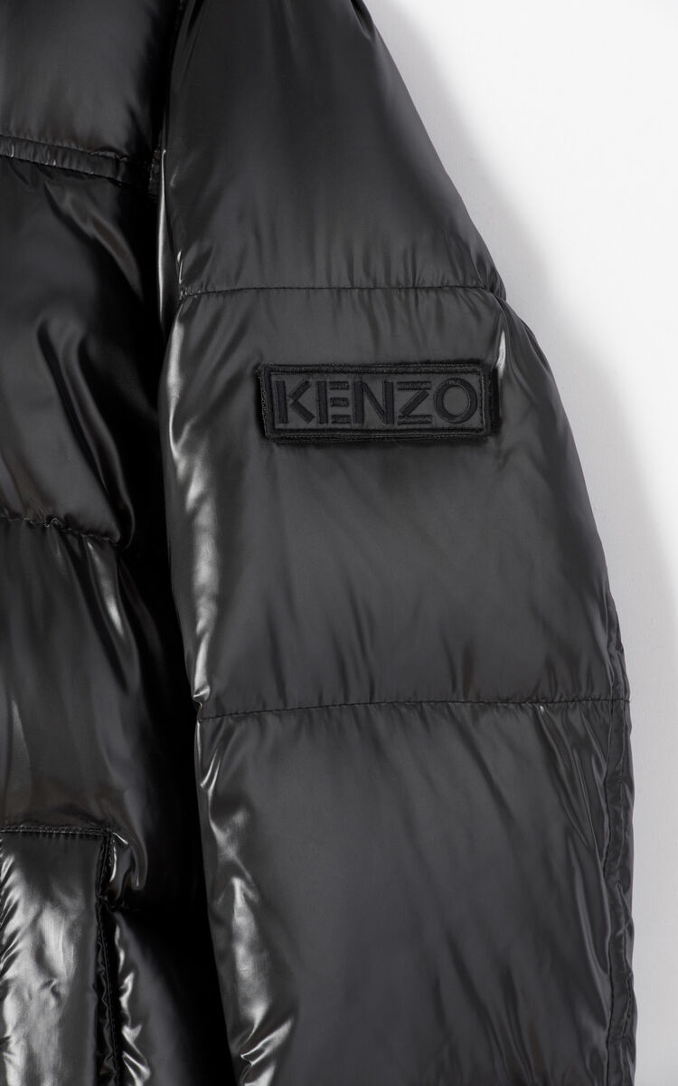 BLACK Quilted winter jacket with hood 'Holiday Capsule' for women KENZO