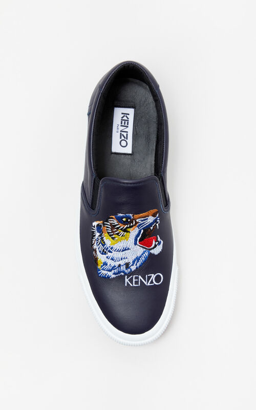 NAVY BLUE 'Tiger Head' Leather Slip-On Trainers 'Go Tigers Capsule' for men KENZO