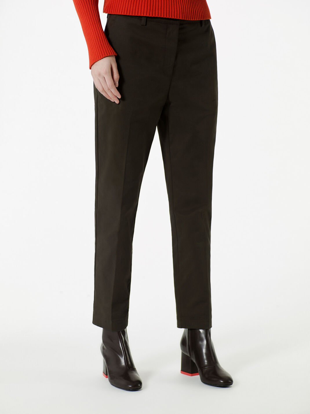 DARK KHAKI Stretch-Cotton Pants for women KENZO