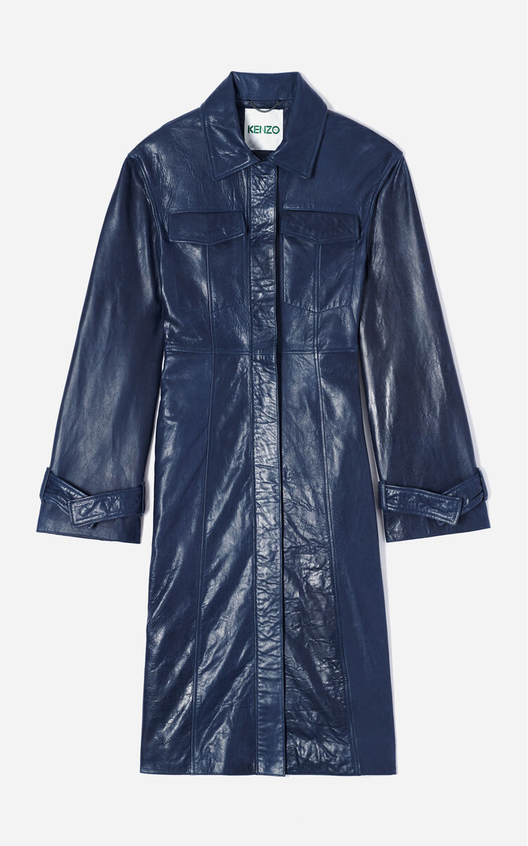 NAVY BLUE Long leather jacket for women KENZO